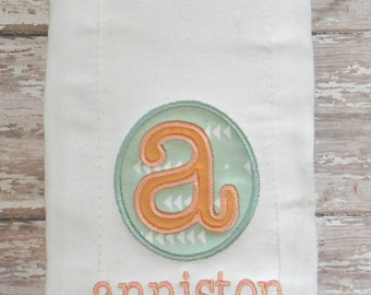 Personalized Embroidered Burp Cloth in Mint & Coral