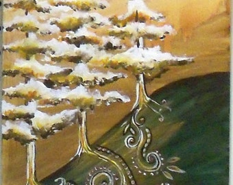original art abstract painting trees entangle style