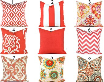 Coral Outdoor Pillows ANY SIZE Outdoor Cushions Outdoor Pillow Covers Decorative Pillows Outdoor Cushion Covers Best Pillow OD You Choose