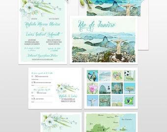 Brazil Rio de Janeiro Brazilian Portuguese Bilingual Destination wedding invitation illustrated wedding invitation Suite - Deposit Payment