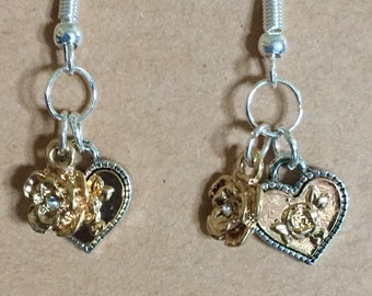 Hearts and Roses Earring Set/ Silver Tone/Gold Tone/ Fish Hook Earring Wires