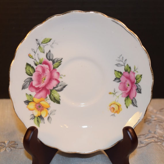 Clare Rose Saucer Vintage Pink Yellow Saucer Bone China Made in England Discontinued China Replacement Gift for Her Mothers Day Gift