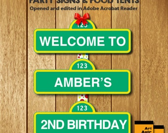 Sesame Street Party Signs Editable PDF, Welcome Sign, Food Tent Cards, Food Labels, Instant Download, Sesame Stree Party Printables RP-147