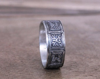 Women's Band, Mens Wedding Ring, Sterling Silver Wedding Art Nouveau Engraved Pattern Rustic Band
