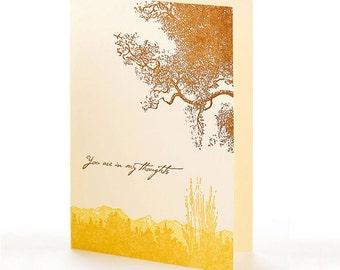 "Trees ""You are in my thoughts"" letterpress card"