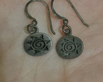 Vintage Sterling silver sun earrings