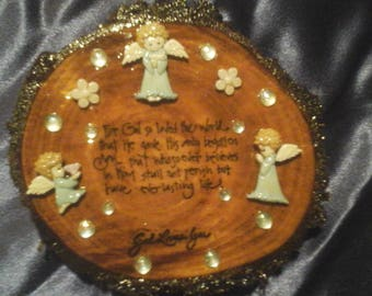 "Christian Cherished Angels ""God Loves You"" John 3:16 Mesquite Wood Wall Plaque for Home, Baptism, Dedication, Easter"