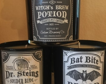 Black 11oz Boxed Votive Soy Wax Candles Pick Your Poison Pick Your Label Halloween Home Decor Fright Night Gift Ideas Horror Style