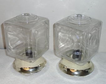 Set of 2 Vintage Ceiling Light Fixtures / Wall Sconces w Clear Square Bullseye Globes - Unionmade