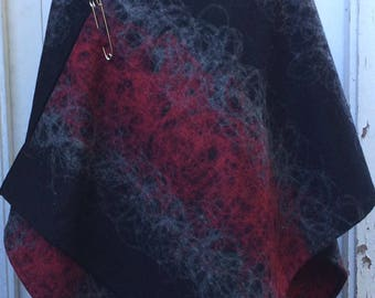 Womens Handmade Wrap Poncho Shawl Cape Black with Red and Grey Decorative Stitch Wool Polyester