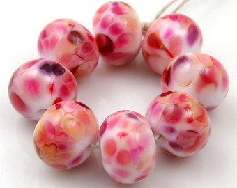 Think Pink SRA Lampwork Handmade Artisan Glass Donut/Round Beads Made to Order Set of 8 8x12mm