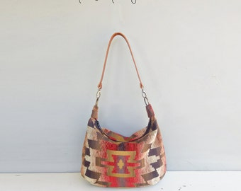 Aztec Zipper Hobo Bag in Red with Custom Leather Strap, Southwest Boho Cross Body Purse, Tribal Pattern Large Shoulder Bag, Made in USA,