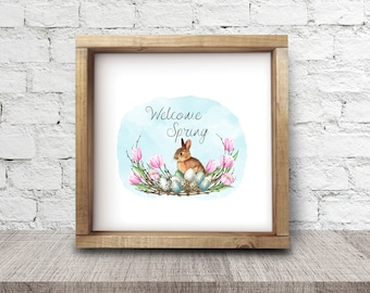 Welcome Spring Bunny Art Print
