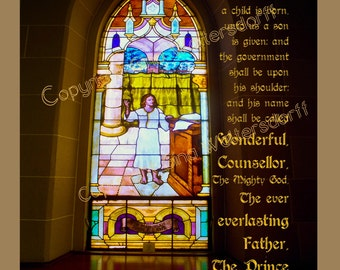 Promised Messiah Isaiah 9-6 Scripture Stained Glass Child Is Born Christmas Verse Sunday School Gifts Gina Waltersdorff