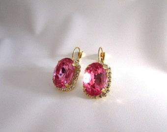 Pink Crystal Earrings, Pink Wedding Jewelry, Pink Bridal Earring, Pink Georgian Paste, 18th Century Marie Antoinette Georgian Era Earring