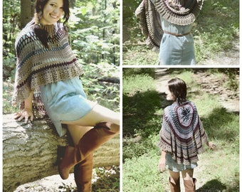 Crochet PATTERN: Ida Shawl / Asymmetrical Circular Poncho / Lace Mesh Mandala Poncho / Feminine Stylish Boho Poncho - Instant Download PDF