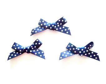 x 3 small bows Appliques embellishments satin Navy Blue polka dot 30 mm x 20 mm