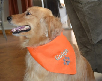 Personalized  Dog Bandana with Paw Print - Custom Colors
