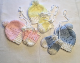 Handmade Baby Hat and Mittens