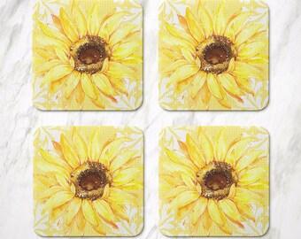 Sunflower Coasters, Cork Coasters, Sunflower Kitchen Decor, Sunflower Gift Ideas, Yellow Housewarming, Set Of 4 Coasters