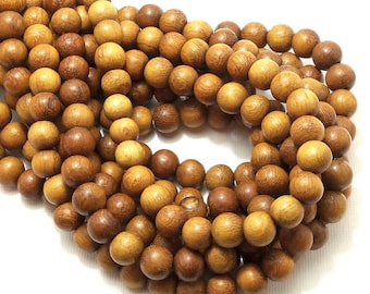 Madre de Cacao Wood, 8mm, Light to Medium Brown, Round, Smooth, Small, Natural Wood Beads, 16 Inch Strand - ID 1648-LT