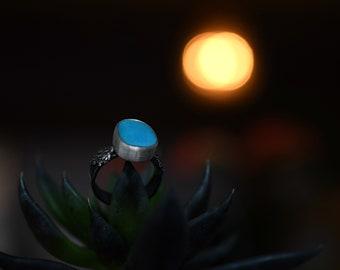 Sleeping Beauty Turquoise Ring -Double Ferns - Silver and Turquoise - Size 8.25 - Turquoise Ring - Real Cast Fern - Woodland Ring