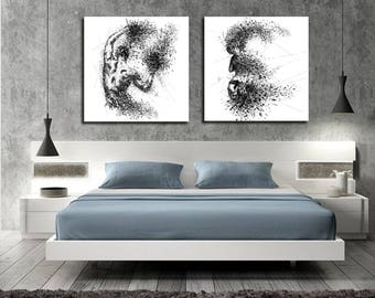 CANVAS ART Sensual Bedroom Wall Decor, His U0026 Hers Abstract Canvas Print,  Modern Erotic Master Bedroom Art, Nude Figure Drawing Wall Art C