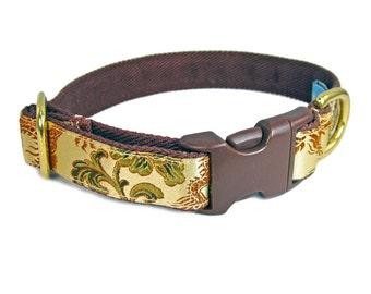 Fancy Dog Collar - Custom Dog Collar - Gold Dog Collar - Dragon Dog Collar - Brown Dog Collar - 2 Inch Dog Collar - Wide Dog Collar