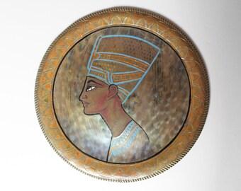Vintage Hand Painted Nefertiti Metal Plate