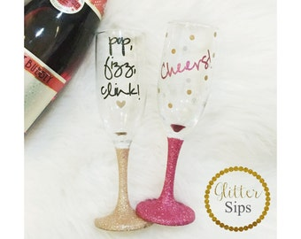 Glitter Champagne Glass // Champagne Glass // Pop, Fizz, Clink // Cheers // Glitter Dipped // New Years // New Years Glass // Christmas Gift