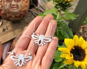Bee earrings, SMALL bee hoop earrings, insect jewelry