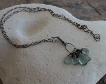 AQUAMARINE necklace, March birthday, Moss Aquamarine CHARM necklace, oxidized sterling silver and Labradorite