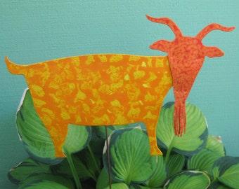 Metal Garden Art Goat Stake Yard Sculpture Animal Art Yellow Orange Recycled Metal Indoor Outdoor Decor Billie Goat