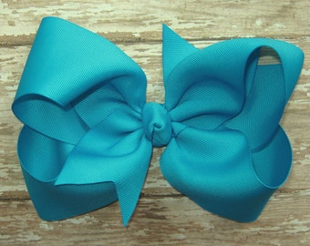 Large 6 inch Grosgrain Hair Bow in Turquoise Blue Big Girls Boutique Style Hairbow