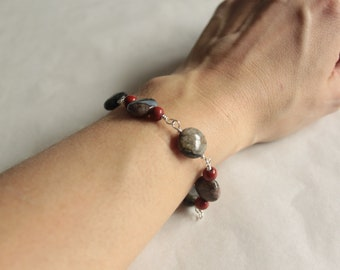 Conglomerite, red jaspis and silver bracelet