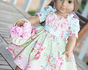 """RESERVED FOR MINA American Girl Doll Clothes Peasant Twirl Dress with Belt 18"""" doll style - Secret Garden - Dress like my doll"""