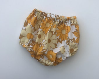 Vintage, retro, yellow, floral, flower, cotton, bloomers, nappy cover, handmade, spanish baby wear