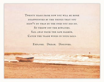 Explore Dream Discover quote on beach photograph