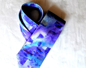 Silk tie handpainted. With shades of color. Suitable for those who love purple color. gift for anniversary, birthday present