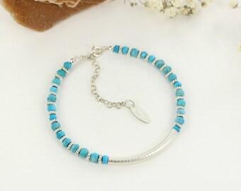 Turquoise bracelet - Sterling silver bracelet - Southwestern bracelet - Boho bracelet - Handmade