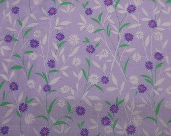 Lavender & Purple Floral Quilting Cotton, Purple Flowers, Purple Tonal, Woven Cotton, By the Half Yard