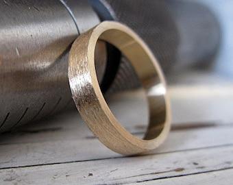 Mens Wedding Band Mens Wedding Ring Brushed Gold Wedding Band Rustic Mens Wedding Ring Unique Mens Wedding Band Viking Wedding Ring Gold