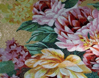 Pink and Yellow Flowers Mosaic Art Ideas