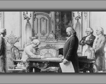 Poster, Many Sizes Available; Benjamin Franklin At Treaty Of Amity And Commerce