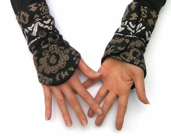 Women fingerless gloves, ethnic cuffs, wrist warmers, brown and black, gift for her