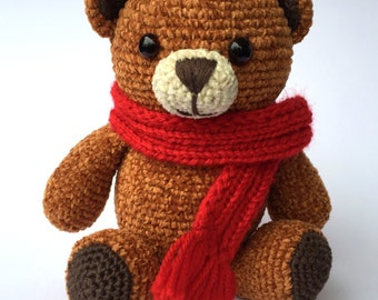 Crochet Teddy Bear, Brown Teddy Bear, Amigurumi Teddy Bear, Crochet Plush Teddy Bear, Christmas Teddy Bear
