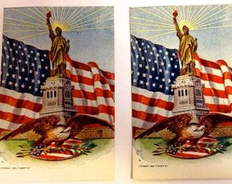 Vintage postcards Statue of Liberty 1906 P Sander NY american flag eagle unused