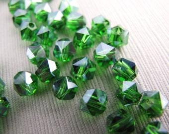 24pcs Emerald Green Round Czech Glass Beads With Larger Facets 5mm Czech - B-08G-90, Real Czech Beads