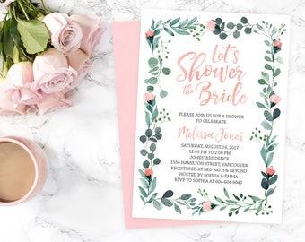 Garden Bridal Shower Invitation Printable, Romantic Bridal Shower Invitation, Rustic Blue Green Leaves Pink Roses Bridal Shower Invite