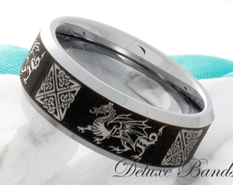 Tungsten Ring Celtic Dragon Sword Wedding Ring Tungsten